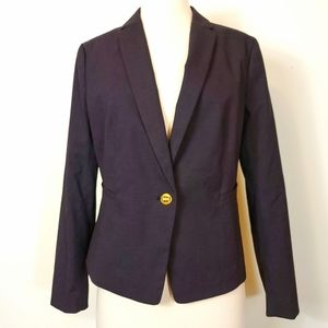 Ann Taylo Notch collar Gold single Button blazer